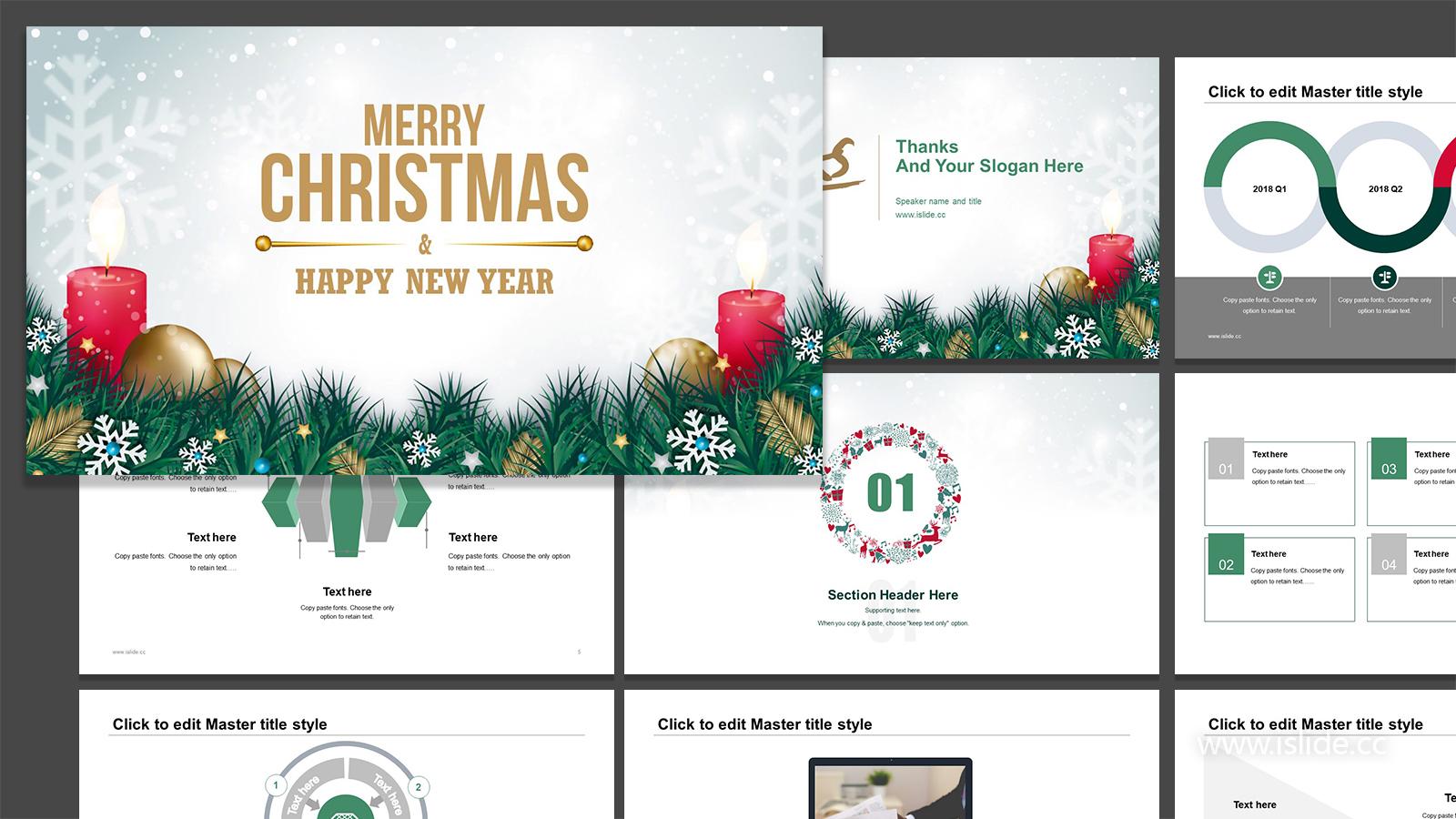 圣诞节庆典节日主题PPT模板下载_预览图1