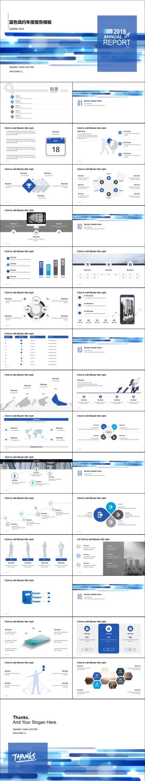 藍色簡約年度報告主題PPT模板下載_預覽圖2
