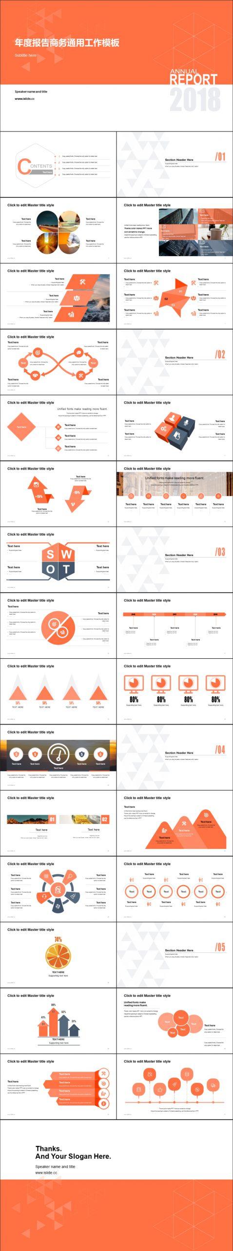 橙色簡約年度報告商務通用PPT模板下載_預覽圖2