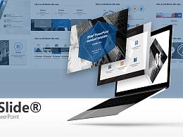 黑白建筑蓝色时尚商务通用主题PPT模板下载