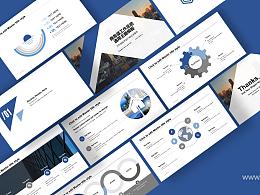 简洁商务风蓝色工作总结PPT模板下载